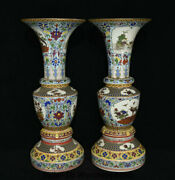 23.2marked China Colour Enamels Porcelain Phoenix Birds Flower Bottle Vase Pair