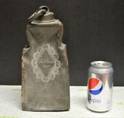Rare 1790and039s Pewter Whiskey Flask Canteen Ornate Engraving And Name Charles Steiner