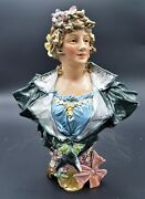 Lovely X-rare 1800's Victorian Lady Majolica Bust W/fancy Dress Bow Floral 13.5
