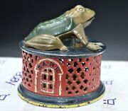Incredible Cast Iron 1872 Pat J And E Stevens Frog On Red Lattice Mechanical Bank