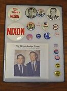 18 Nixon-lodge Campaign Buttons Pin Backs Rnc Bio's, First Lady Flasher Rare Set