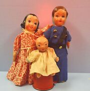 3 Wpa 1930s Orig Paper Mache Hand Puppets Federal Theater New Deal Mom Dad Baby