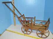 Antique Toy Doll Size Cart Wagon Primitive Wood Wicker Cart 22.5 X 15.5 X 8.5