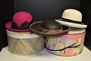 3 Classic Vintage Women's Ladies Hats From 1950's-60's Bollman Wool, Other Straw