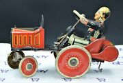 Classic 1930's Marx Tin Litho Wind Up Coo Coo Car W/driver Works Well Vg/exc Con