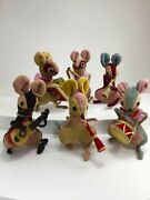 Lot Of Six 6 Vintage Miniature Fuzzy Felt Mice Figurines Playing Music In Band