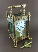Antique Victorian 8 Day Carriage Ornate Brass Alarm Clock W/ Faceted Crystals