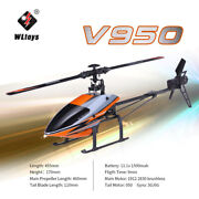 Wltoys V950/v911s Rc Aircraft 2.4g 6ch 3d6g Brushless Flybarless Helicopter Toy