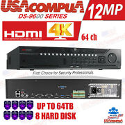 Hikvision 64ch 32ch Nvr Ds-9664ni-i8 Ds-9632ni-i8 12mp Resolution Nvr 8 Sata