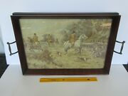 Vintage Royal Rochester Tapestry Fox Hunting Scene Glass And Wood Serving Tray