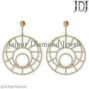 Solid Yellow Gold 14k Earrings Dangle Natural Pave Diamond Jewelry Wedding Style