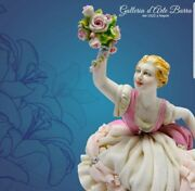 Porcelain Of Capodimonte. Lady Spring Dress Lace Tulle Of Porcelain