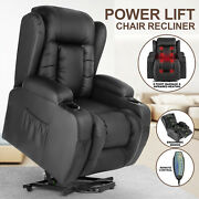 Black Oversized Leather Auto Electric Power Lift Massage Recliner Chair W/remote