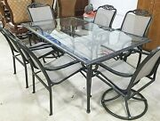 7 Piece Vintage Samsonite Outdoor Patio Dining Set Table And 6 Armchairs