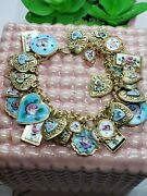 Gold Toned Sterling Vintage Puffy Heart Bracelet Guilloche Painted 7 Valentine