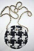 20s Black White Houndstooth Tweed Circle Clutch On Chain Crossbody Bag
