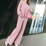 2pc Womenand039s Cashmere Pullover Sweater Pants Wide Leg Slim Knitting Warm Fashion