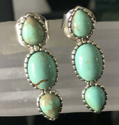 Pangea Mines Sterling Silver 1.25andprime 8 Mine Turquoise 3-stone Earrings