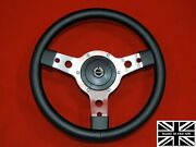 13 Classic Leather Steering Wheel And Hub. Fits Triumph Herald