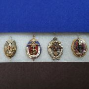 Lot Of 4 Military Russian Police Badges Pins