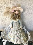Signed Thelma Resch Porcelain Doll 36 Victorian Gown And Hat Limited Edition 83