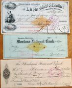 Helena Montana Mt Super Collection 23 Different Bank Checks 1866-1902- Group 1