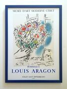 Marc Chagall Rare 1971 Mourlot Lithograph Print Framed French Exhibition Poster
