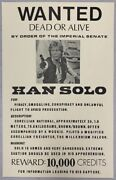Wanted Dead Or Alive Star Wars Han Solo 1977 Poster Rare Authentic