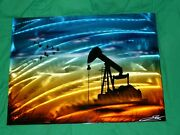 Vtg Signed Art Nalco Ecolab Electroplate Metal Plaque Oil Well Pump Jack Ducks