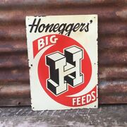Vintage Metal Sign Original Honeggers Big H Feed Rustic Antique Farm Sign Old