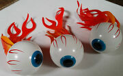 Vintage Flaming Burning Eyeball Antenna Topper Ford Chevy Buick- Set Of 3