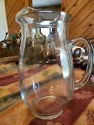 Vintage Water Tea Pitcher Clear Thick Glass - Large 10 X 3.5 Heavy 4.5 Lbs