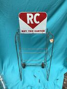 Vintage Rc Royal Crown Cola Rolling Crate Display And Sign Used At Gas Station