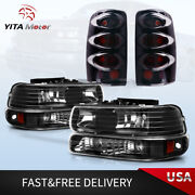 For 2000-2006 Chevy Suburban Tahoe Headlights Lamps + Rear Tail Lights Pair Set