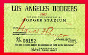 1962 Sandy Koufax First No-hit Gm Full Ticket Pass 1962 At Los Angles Dodgers Ex