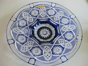 Case Crystal, Color Cut To Clear,14 Blue Platter, German Crystal 24 Lead