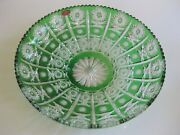 Case Crystal, Color Cut To Clear,14 Green Platter, German Crystal 24 Lead