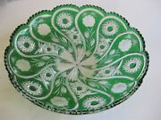 Case Crystal, Color Cut To Clear,35cm/14 Green Platter, German Crystal 24 Lead