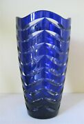 German Made Crystal Blue Cut To Clear 8 Tall Vase Hand Cut 24 Lead Glass,