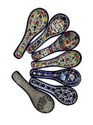 9 Armenian Hand Painted Cooking Spoon Rest / Ladle Holder - Large From Israel