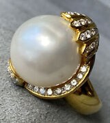 Huge 6500 18k Yellow Gold Baroque Pearl Diamond Crown Vintage Cocktail Ring 7.5