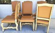 6 French Country Rustic Genuine Leather Wood Dining Chairs W Brass Nail Trim