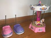 Kelly Kiddie Rides Barbie Mattel Carasoul/merry Go Round And Bumper Cars 2000