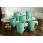 Farmhouse 6-pack Stoneware Mugs With Antique Finish In Turquoise