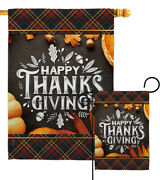 Happy Thanks Giving Garden Flag Fall Thanksgiving Decorative Yard House Banner