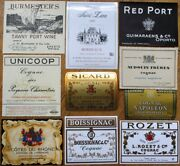 Vintage Wine And Liquor Bottle Labels 50 Different 1920s-80s - Group 3 - French