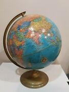 Vintage Crams 12 Imperial World Globe With Metal Frame