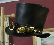 Black Leather Men's Formal Steampunk Top Hat With Aviator Goggles Cosplay