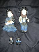 Lot Of Clay And Cast Iron Metal Amish Mennonite Figures Figurines People Baby