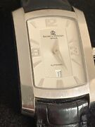 Baume And Mercier Classic Square Curved Gents 18k White Gold Vintage Wristwatch